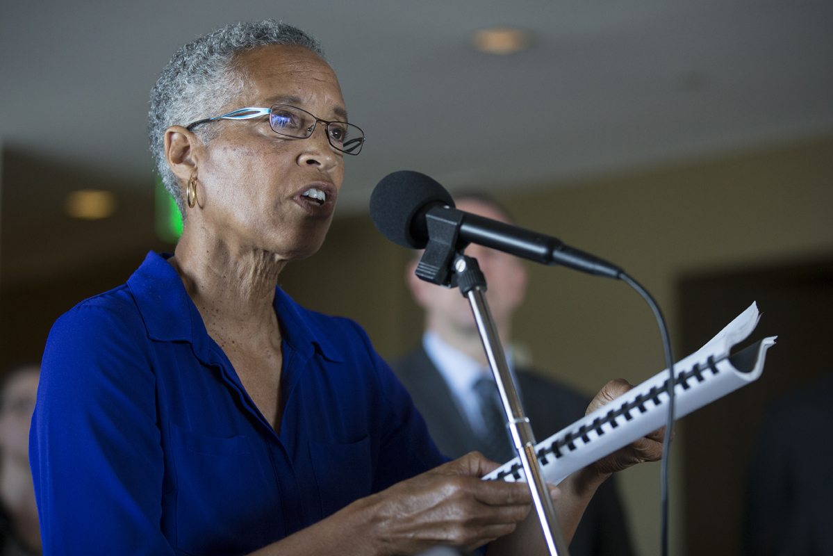 Judge LaDoris H. Cordell speaks during a press conference held by the Blue Ribbon Panel announcing their findings of SFPD oversights in San Francisco, Calif. Monday, July 11, 2016. (Jessica Christian/S.F. Examiner)