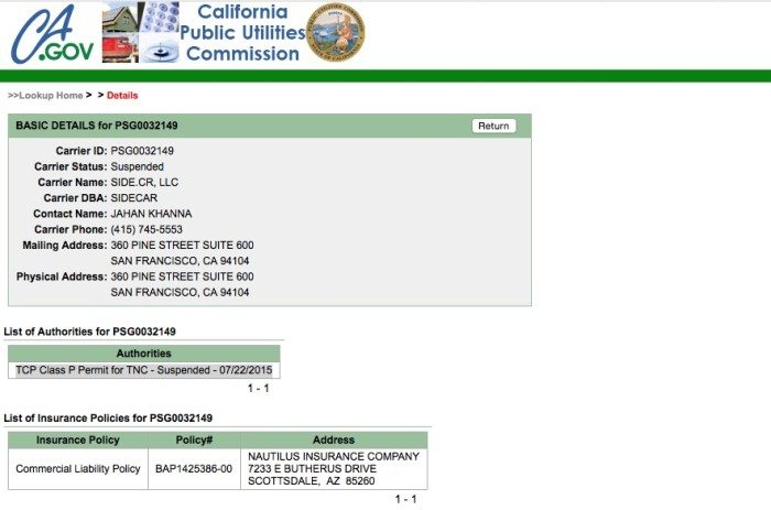 A screenshot of Sidecar's suspended permit, on the CPUC website.