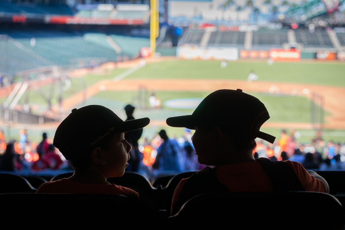 Two Junior Giants at AT&T Park in San Francisco, on Monday, June 26, 2017. (Sarahbeth Maney/Special to S.F. Examiner)