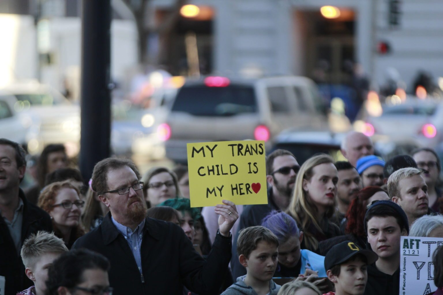 A large crowd gathers outside City Hall during a rally held in solidarity with transgender youth held in San Francisco, Calif. Thursday, February 23, 2017. (Jessica Christian/S.F. Examiner)