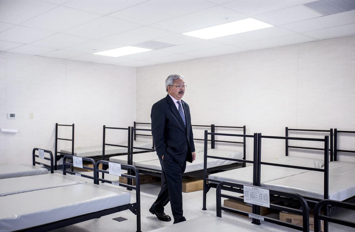 San Francisco Mayor Ed Lee tours the living quarters of the new Central Waterfront Navigation Center during a grand opening ceremony in San Francisco's Dogpatch neighborhood Wednesday, May 24, 2017. (Jessica Christian/S.F. Examiner)