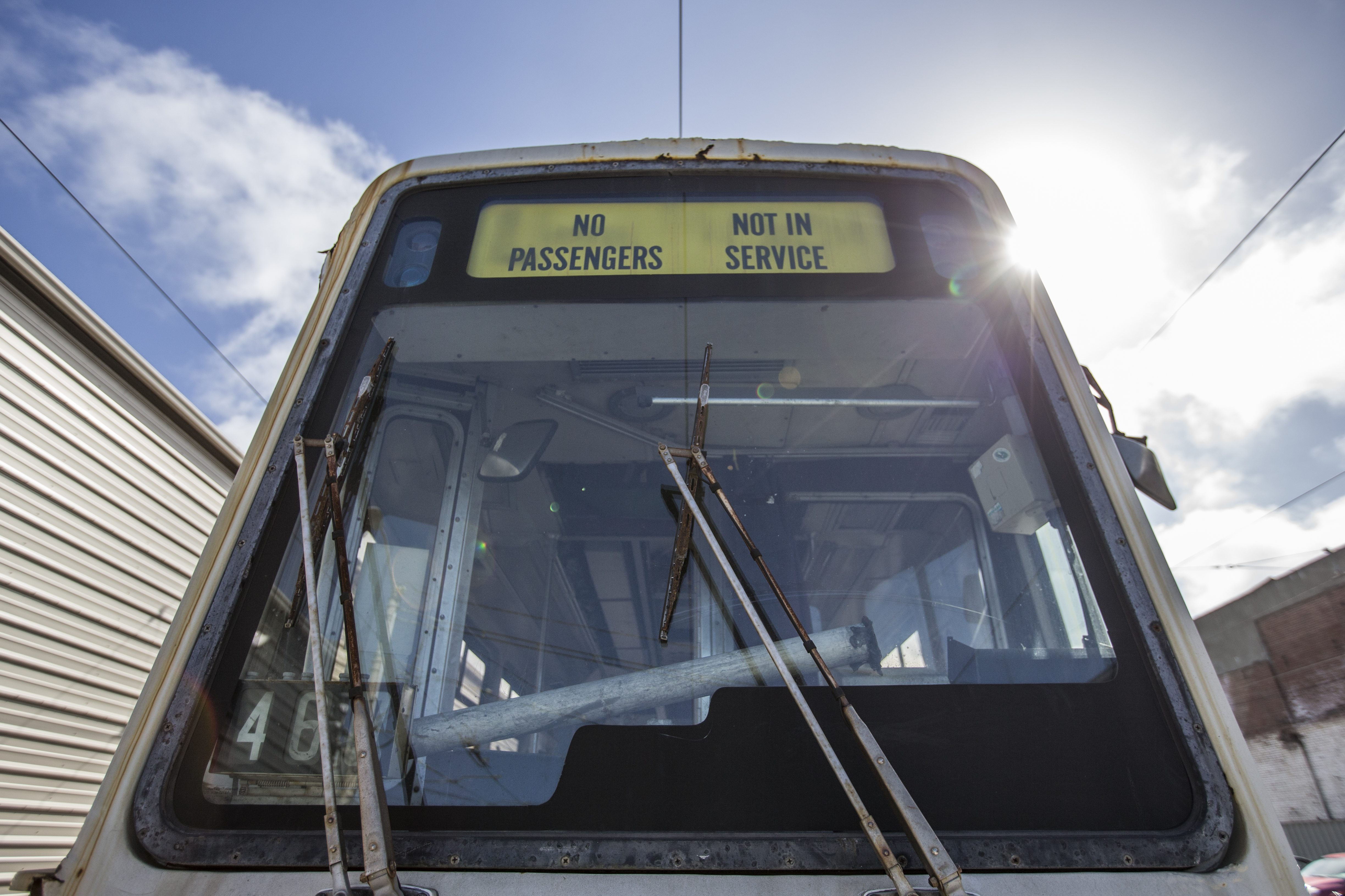 A MUNI light rail vehicle from the 1980s is seen at the Cameron Beach Yard in San Francisco, Calif. Wednesday, March 30, 2016. (Jessica Christian/S.F. Examiner)