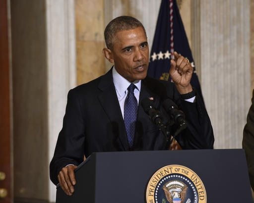 President Barack Obama speaks at the Treasury Department in Washington on Tuesday following a meeting with his National Security Council to get updates on the investigation into the attack in Orlando, Florida and review efforts to degrade and destroy ISIL. (AP Photo/Susan Walsh)