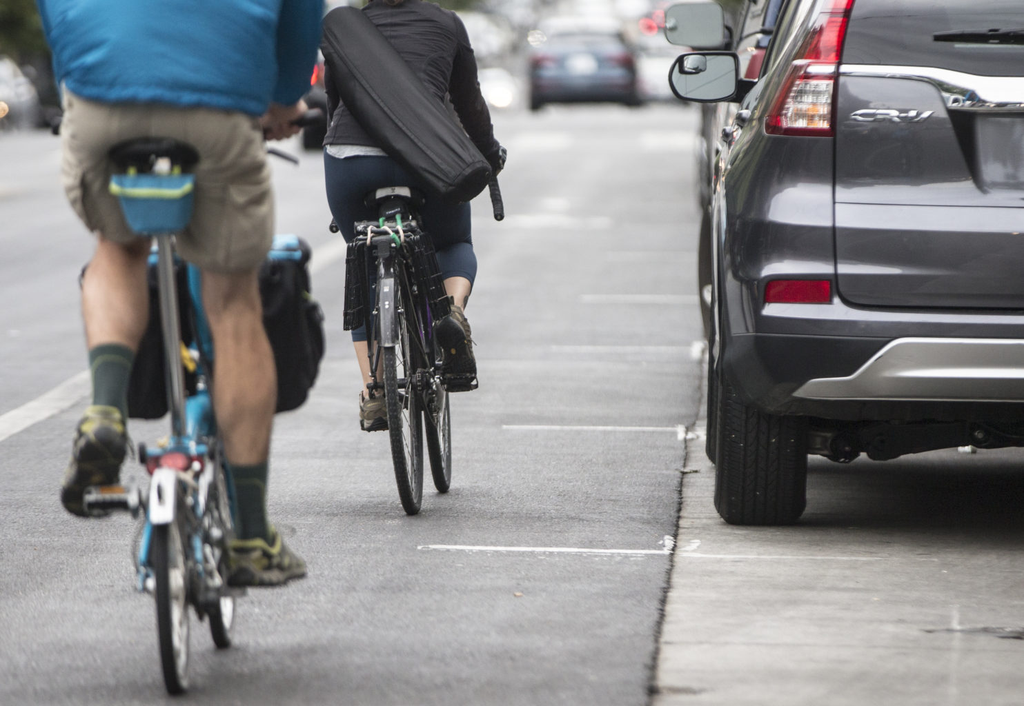 Protected bike lanes will be installed on Valencia Street between Market and 15th streets. (Jessica Christian/S.F. Examiner)