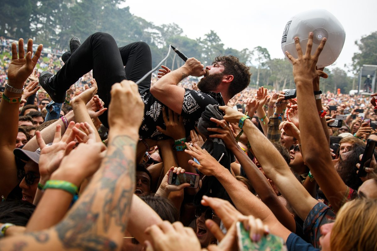 Yannis Philippakis, lead singer of Foals, crowd surfs during their set at day one of Outside Lands in San Francisco on Friday, August 5, 2016. ( Ryan McNulty / Special to SF Examiner )