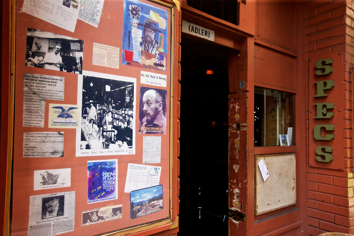 Pictures, articles and postcards sit in a frame outside Specs' 12 Adler Museum Cafe on Friday, April 27, 2018. (Kevin N. Hume/S.F. Examiner)