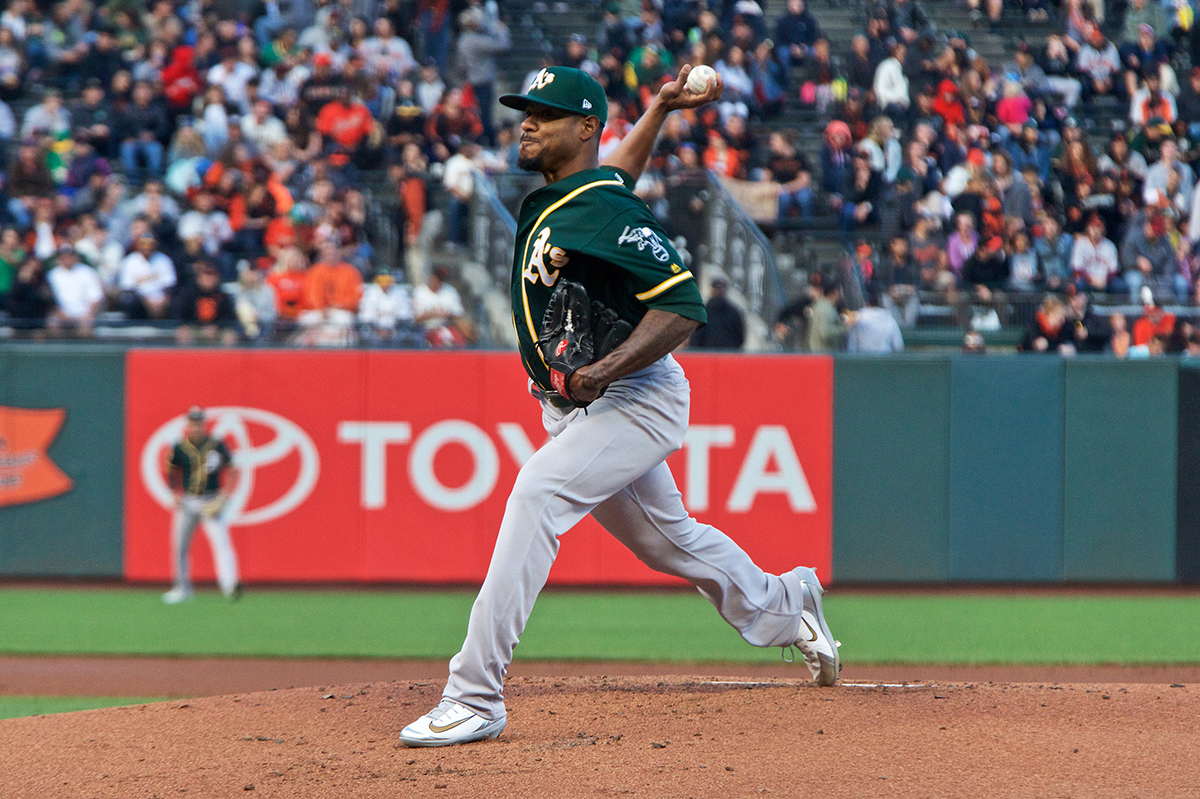 Oakland Athletics pitcher Edwin Jackson delivers to home against the San Francisco Giants at AT&T Park on Friday, July 13, 2018. (Kevin N. Hume/S.F. Examiner)