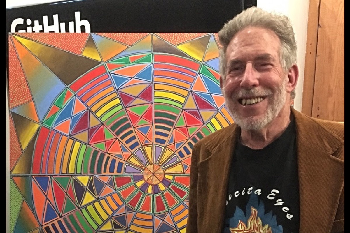 Artist and muralist Henry Sultan shows his work at an 80th birthday party on Aug. 4 at Precita Eyes in the Mission. (Courtesy photo)