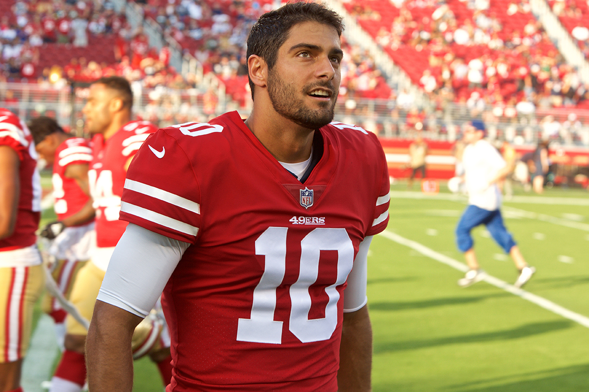 San Francisco 49ers quarterback Jimmy Garoppolo looks into the crowd before the game against the Dallas Cowboys at Levi's Stadium in Santa Clara, Calif. on Thursday, August 9, 2018. (Kevin N. Hume/S.F. Examiner)