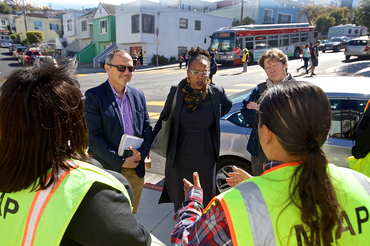 BART directors Bevan Dufty and Lateefah Simon, along with BART deputy general manager Bob Powers, meet with Muni Transit Assistance Program employees to discuss creating a similar safety program before a ride along in the Bayview District on Monday, Sept. 24, 2018. (Kevin N. Hume/S.F. Examiner)