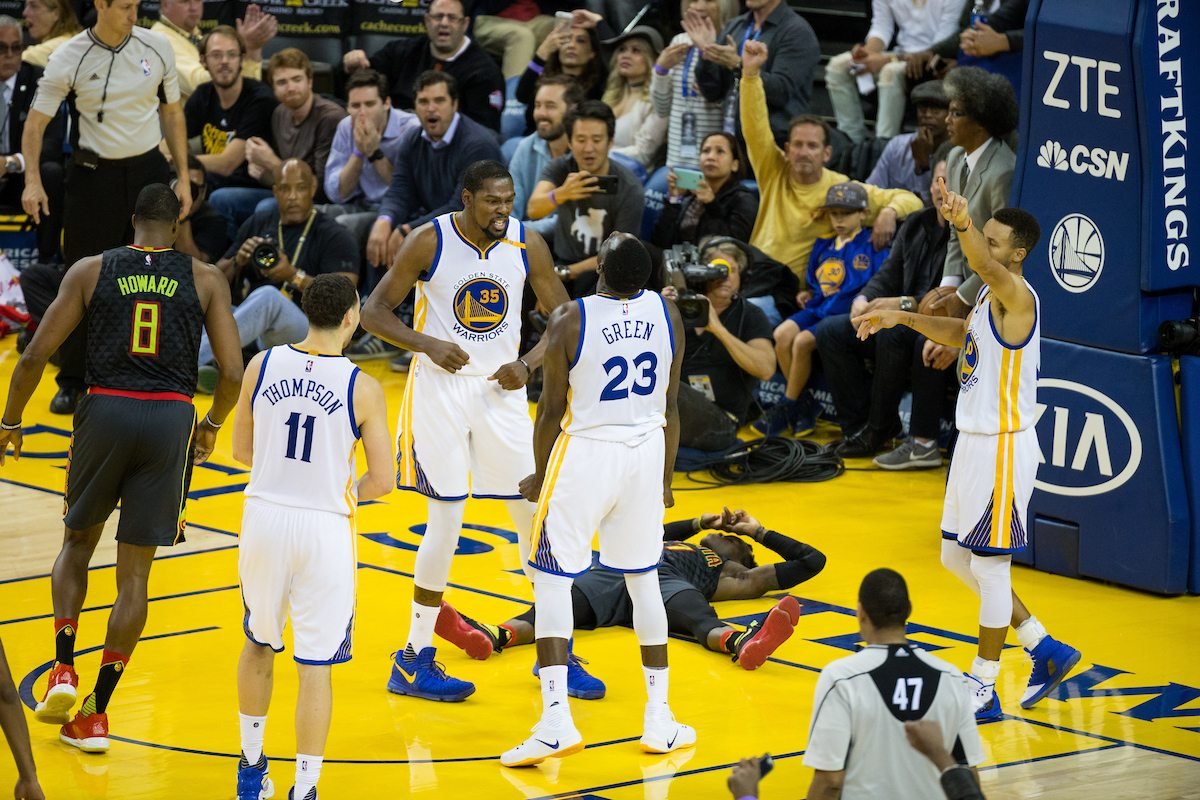 Draymond Green did it on Nov. 28, as seen here, and he did it again on Tuesday: Make the game-winning stop. (Stan Olszewski/Special to S.F. Examiner)