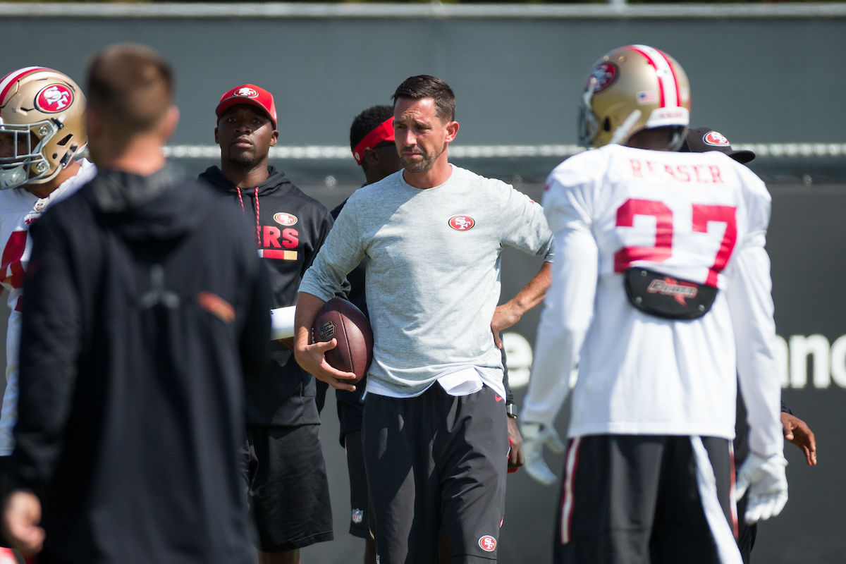 San Francisco 49ers head coach Kyle Shanahan throws passes to players during the San Francisco 49ers training camp held at their practice facility in Santa Clara, California, on August 17, 2017. (Stan Olszewski/Special to S.F. Examiner)