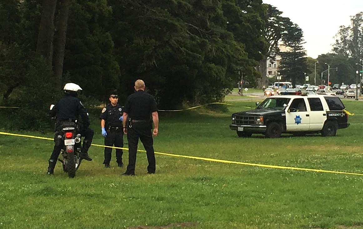 San Francisco police investigate a stabbing on Hippie Hill on Monday, June 20, 2016.  (Laura Dudnick/S.F. Examiner)