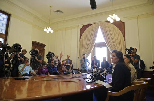 Oakland Mayor Libby Schaaf faces reporters during a news conference at City Hall on Wednesday in Oakland. (AP Photo/Eric Risberg)