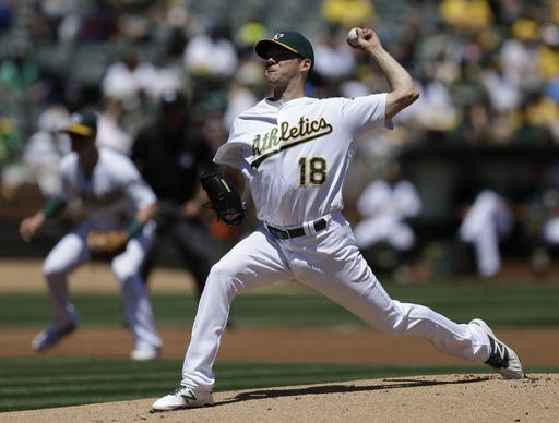 Oakland Athletics pitcher Rich Hill works against the Houston Astros in the first inning Sunday in Oakland. (AP Photo/Ben Margot)