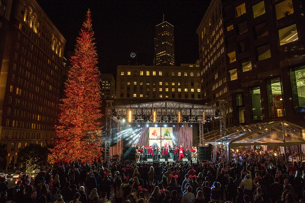 The huge tree at 555 California Street is being lit on Nov. 29 featuring a performance by the Doobie Brothers. (Courtesy photo)