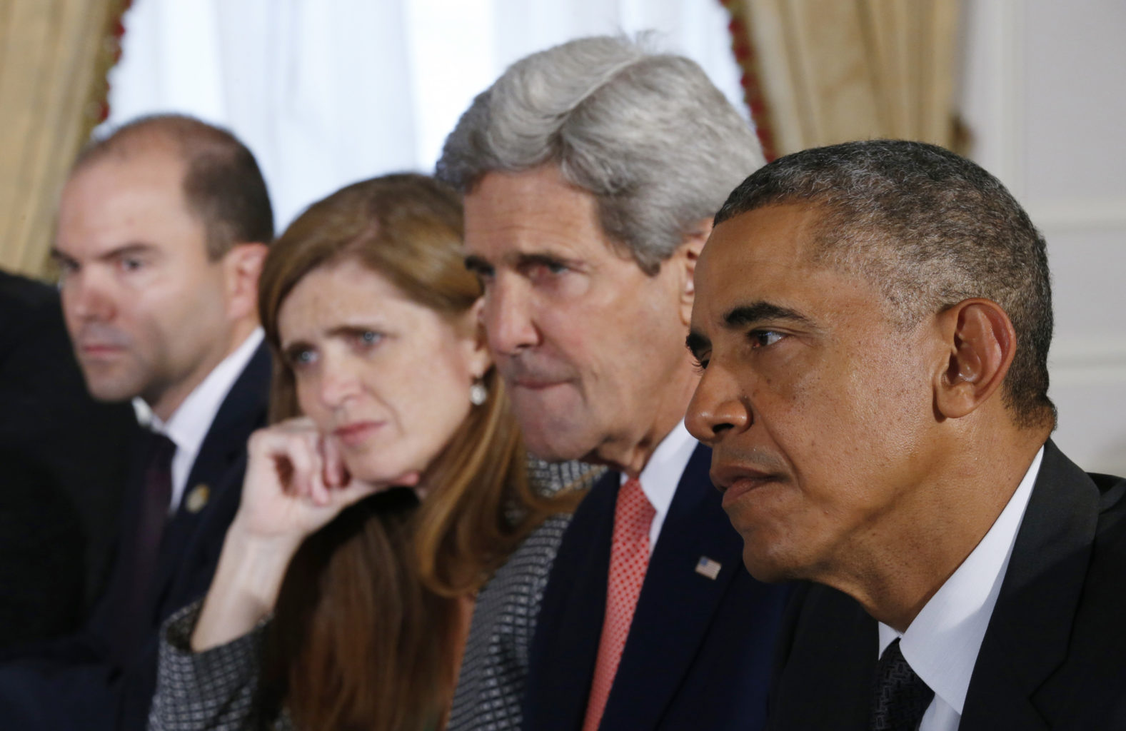 "Positive work done by, from left, Ben Rhodes, Samantha Power, John Kerry and President Barack Obama, comes to light in ""The Final Year."" (Courtesy Magnolia Pictures)"