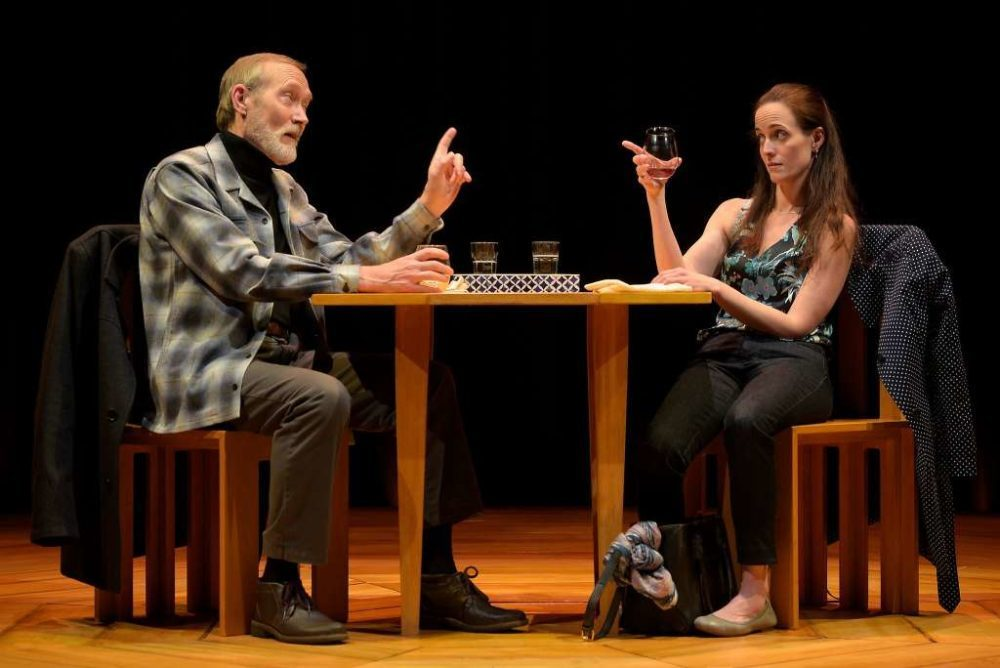 "James Carpenter and Sarah Grace Wilson play the presumably odd couple in American Conservatory Theater's production of ""Heisenberg."" (Courtesy Kevin Berne)"