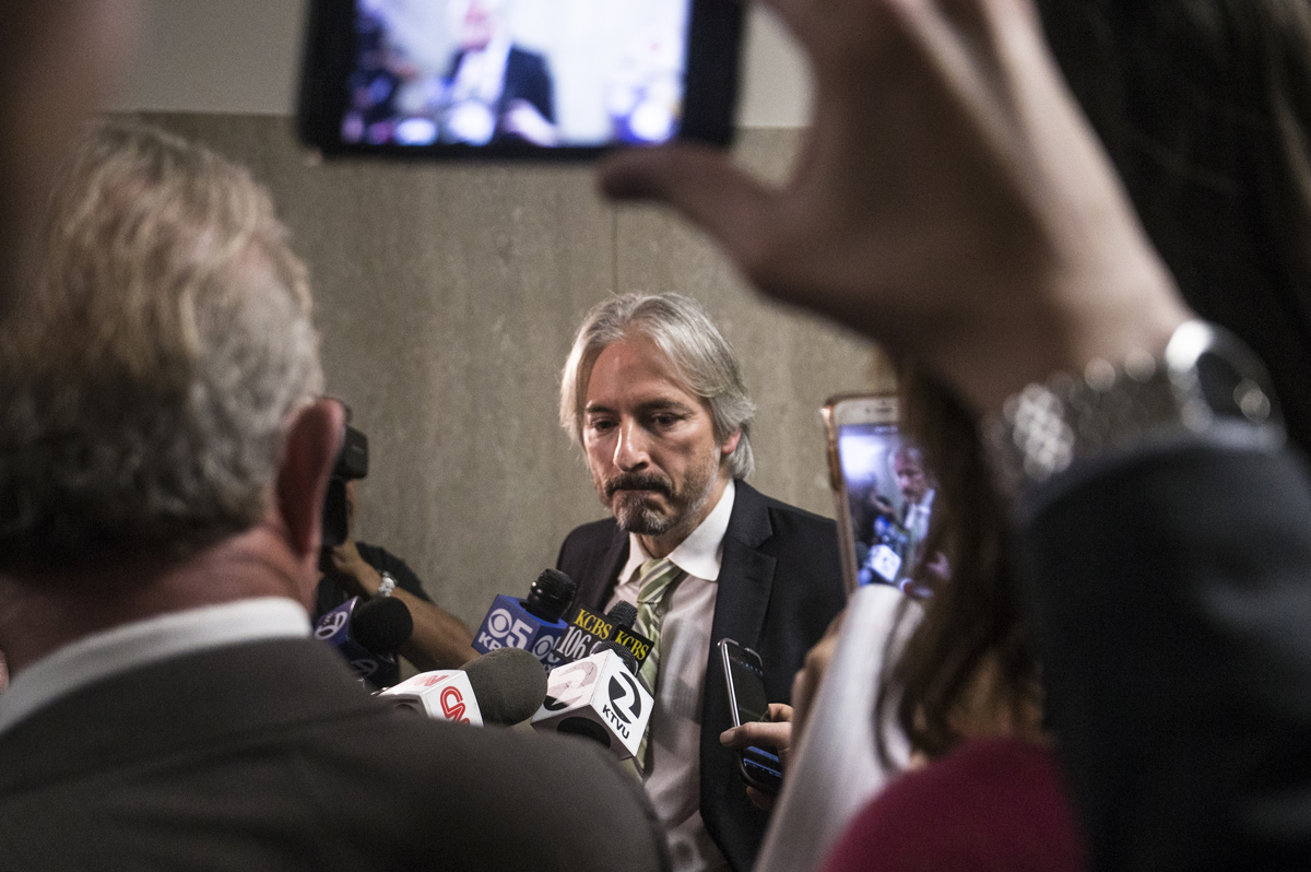 Chief Public Defender Matt Gonzalez holds interviews outside the courtroom during a recess at the Hall of Justice in San Francisco, Calif. Monday, October 23, 2017. (Jessica Christian/S.F. Examiner)