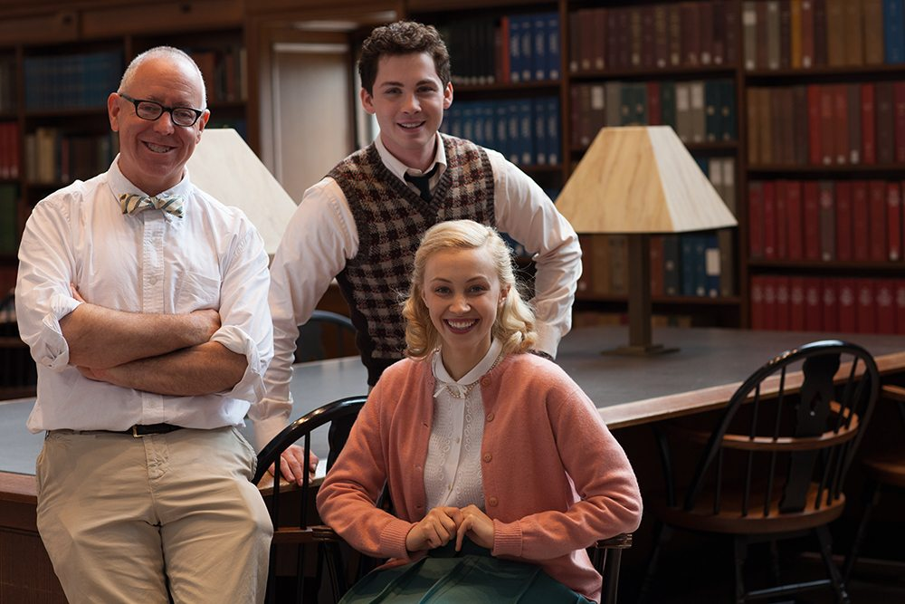 """From left, James Schamus, Logan Lerman and Sarah Gadon take a break on the set of """"Indignation."""" (Courtesy Alison Cohen Rosa/Roadside Attractions)"""