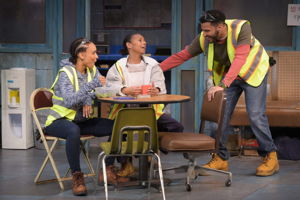 "From left, Tristan Cunningham, Margo Hall and Christian Thompson are excellent in ""Skeleton Crew,"" a co-presentation of TheatreWorks Silicon Valley and Marin Theatre Company. (Courtesy Kevin Berne)"