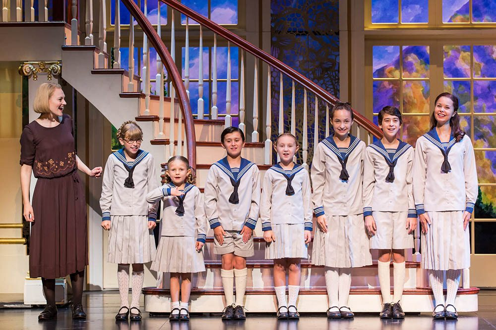 "The tour of ""The Sound of Music"" featuring Kerstin Anderson, left, as Maria (pictured with the von Trapp children) opens in San Jose. {Courtesy Matthew Murphy)"