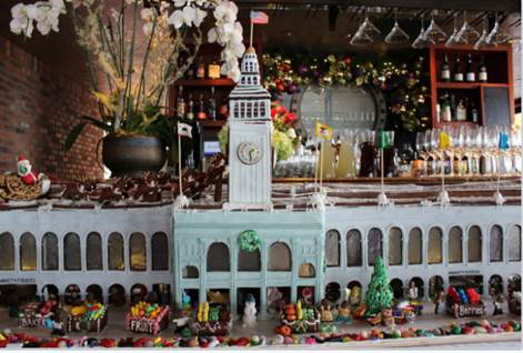Waterbar's holiday gingerbread display is an adorable replica of the Ferry Building. (Courtesy photo)