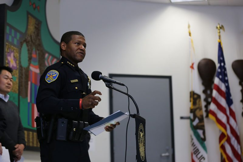 Police Chief William Scott speaks during a news conference highlighting the launch of The City's domestic violence lethality assessment program at Bayview Police Station in San Francisco, Calif. Tuesday, June 6, 2017. (Mira Laing/Special to S.F. Examiner)