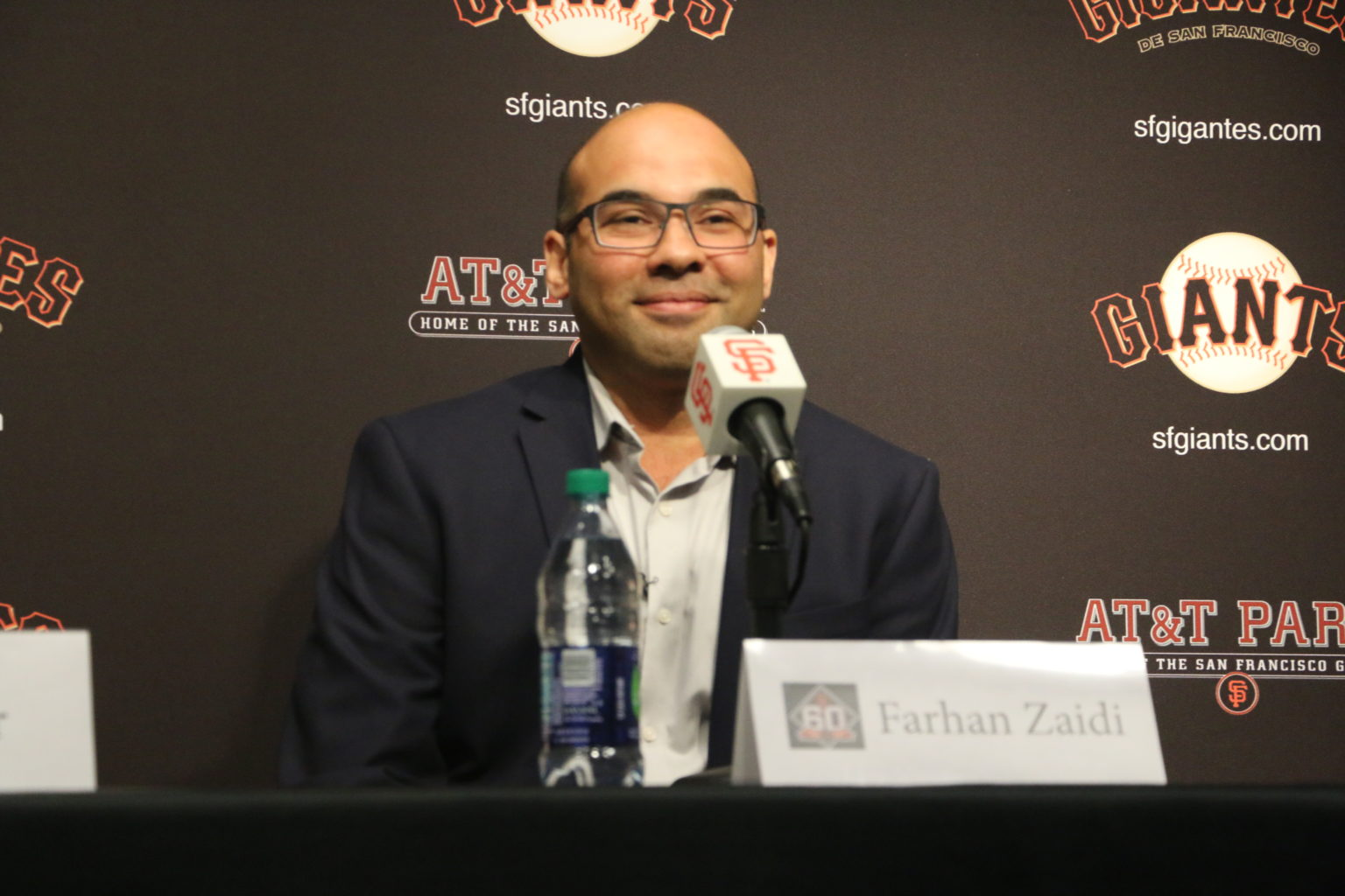 Farhan Zaidi addresses the media as he is introduced as the new San Francisco Giants President of Baseball Operations on Nov. 7, 2018. (Ryan Gorcey / S.F. Examiner)