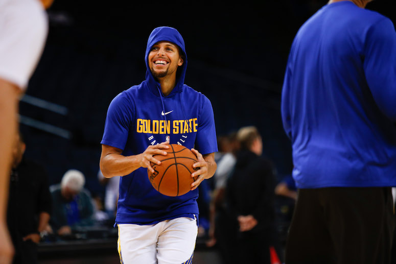 Golden State Warriors guard Stephen Curry (30) prepares to shoot during pregame of an NBA basketball game against Toronto Raptors at Oracle Arena in Oakland, Calif. on Wednesday, Oct. 25, 2017. (Emma Marie Chiang/Special to S.F. Examiner)