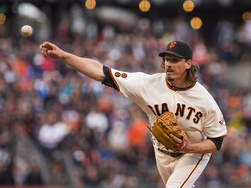 San Francisco Giants starting pitcher Jeff Samardzija (29) works the mound against the New York Mets at AT&T Park in San Francisco, Calif., on August 17, 2016. (Stan Olszewski/Special to S.F. Examiner)