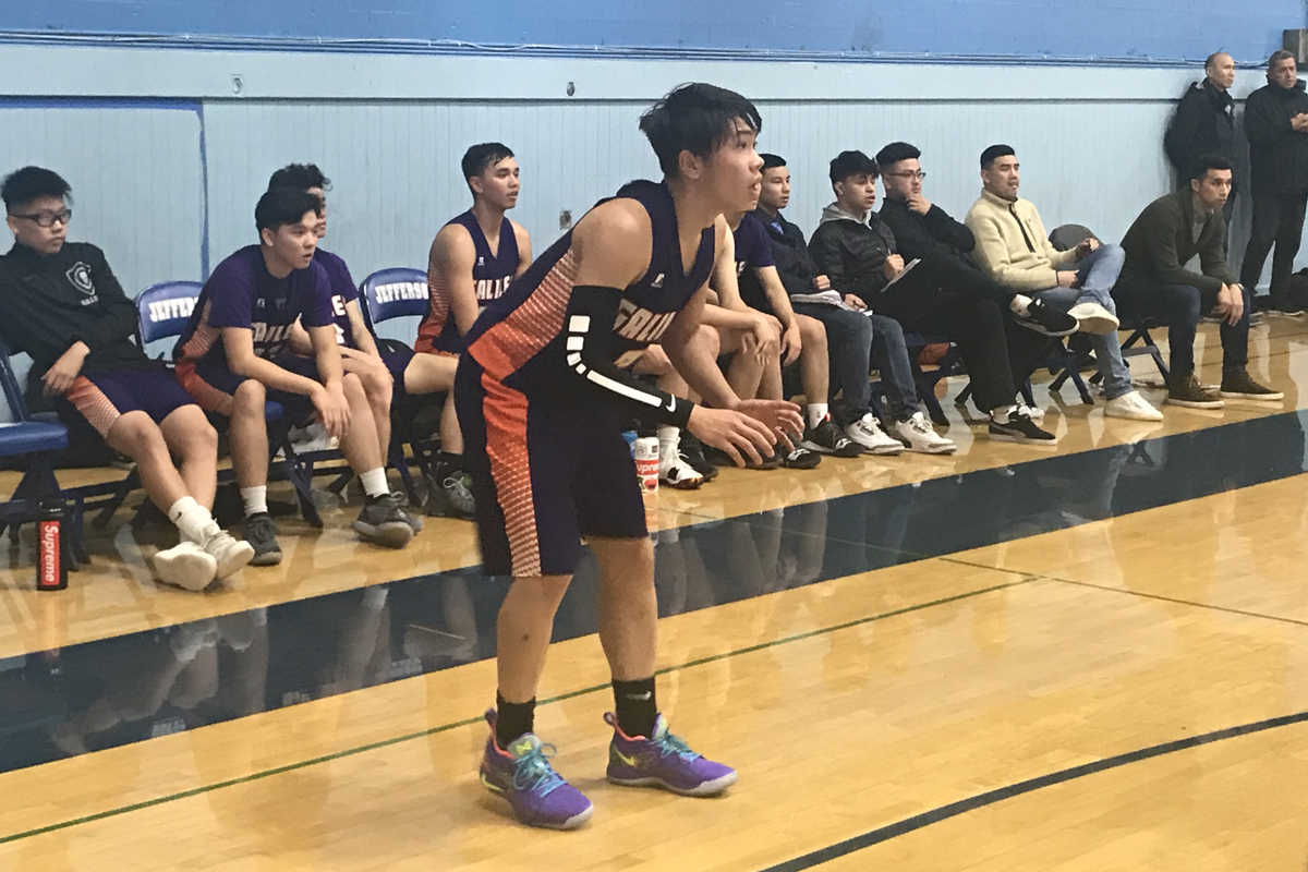 Galileo guard Ryan Huang scored 17 of his game-high 23 points in the first half in a game against Jefferson on Nov. 29, 2018. (Ethan Kassel / S.F. Examiner)