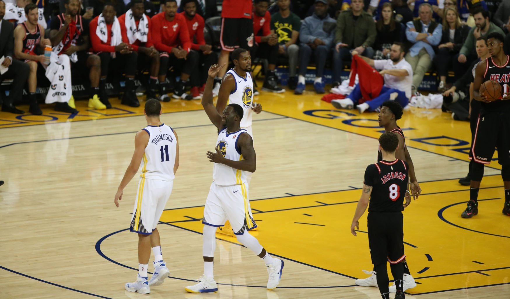 Draymond Green celebrates during the first half of the Miami Heat vs Golden State Warriors game at Oracle Arena on Monday, November 6th, 2017. (Mira Laing/Special to S.F. Examiner)