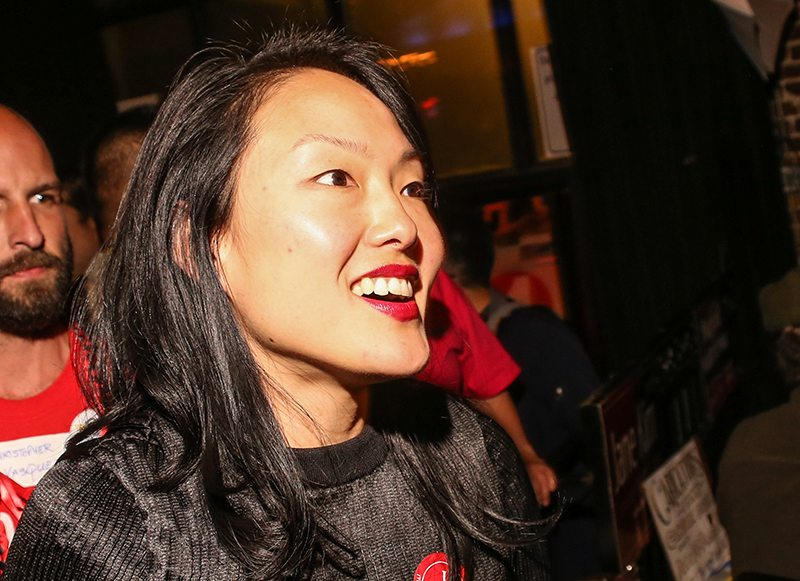 Jane Kim, District 6 Board of Supervisor, attends an election party at Slim's as votes for the District 11 State Senate race are counted in San Francisco on November 8, 2016. (Photo by Joel Angel Juárez/Special to S.F. Examiner)