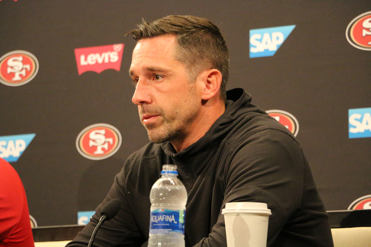 San Francisco 49ers head coach Kyle Shanahan addresses the media on the first day of training camp, 2018. (Ryan Gorcey / S.F. Examiner)