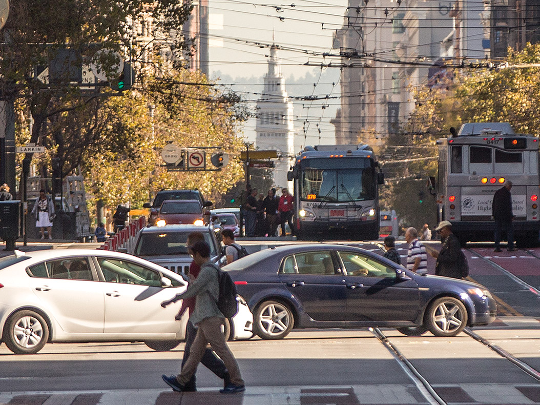 The Better Market Street Project, set to begin construction in 2020, intends to make the street more friendly for pedestrians, cyclists and transit. (Jessica Christian/S.F. Examiner)
