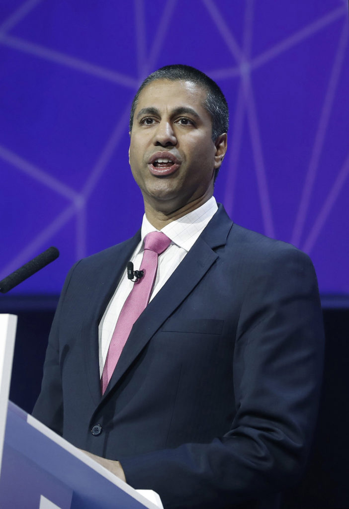 Chairman of the United States Federal Communications Commission, Ajit Pai, gives a speech during a conference at the Mobile World Congress in Barcelona, Spain on Feb. 28. (Andreu Dalmau/EFE/Zuma Press/TNS)