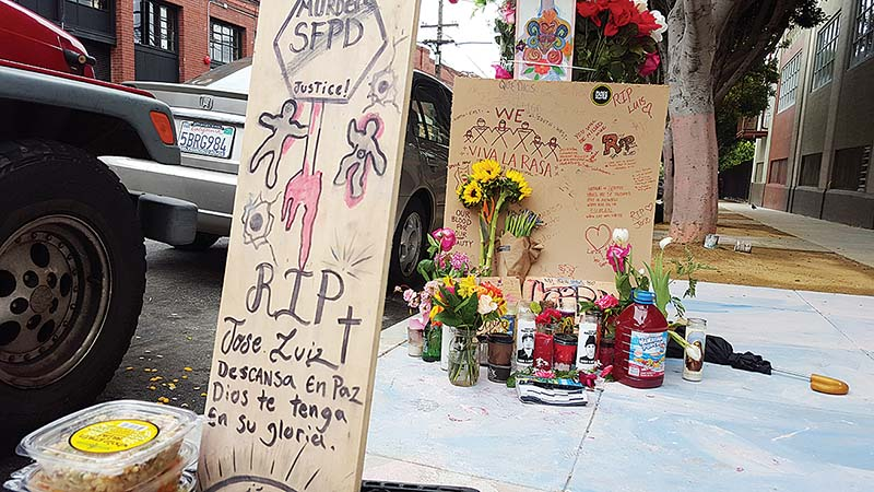After the fatal police shooting of a homeless man, Luis Gongora, Mayor Ed Lee ordered the tents on Shotwell Street to be taken down. By Sunday they were back. (Joe Fitzgerald Rodriguez/S.F. Examiner)