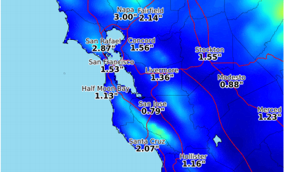 The Bay Area's rain predictions between 4 p.m. Monday and 4 a.m. Wednesday. (Courtesy National Weather Service)