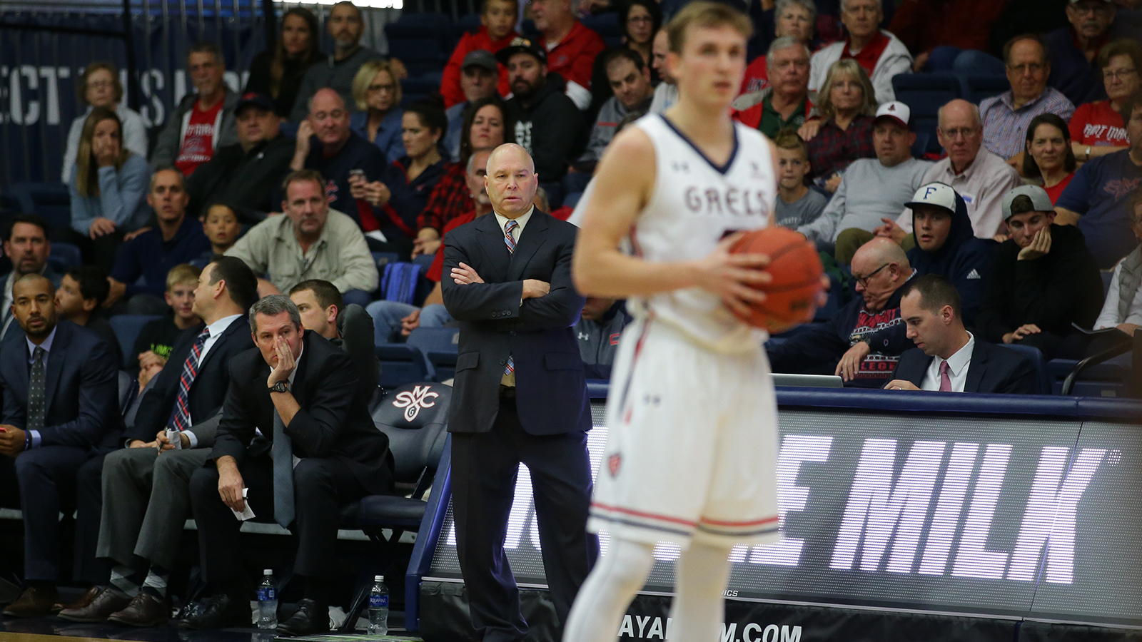 Randy Bennett's team is performing better than ever despite his lofty standard. (Courtesy Tod Fierner/ Saint Mary's Athletics)