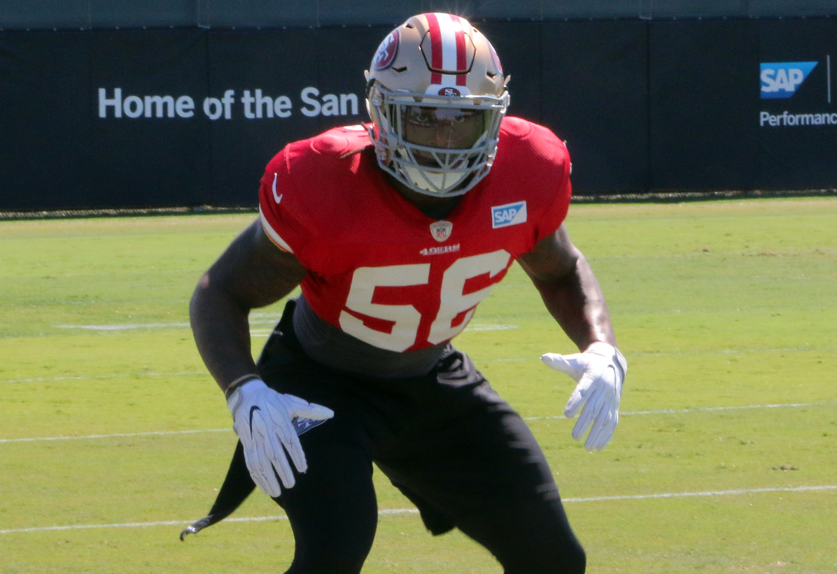 San Francisco 49ers linebacker Reuben Foster goes through a drill on Sept. 20, 2018 at the 49ers' practice facility in Santa Clara, Calif. (Ryan Gorcey / S.F. Examiner)