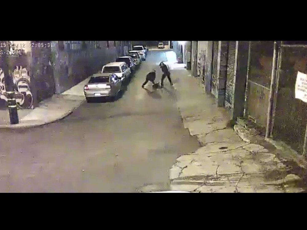 Two sheriff's deputies caught on tape apparently beating a man in the Mission. (Courtesy photo)