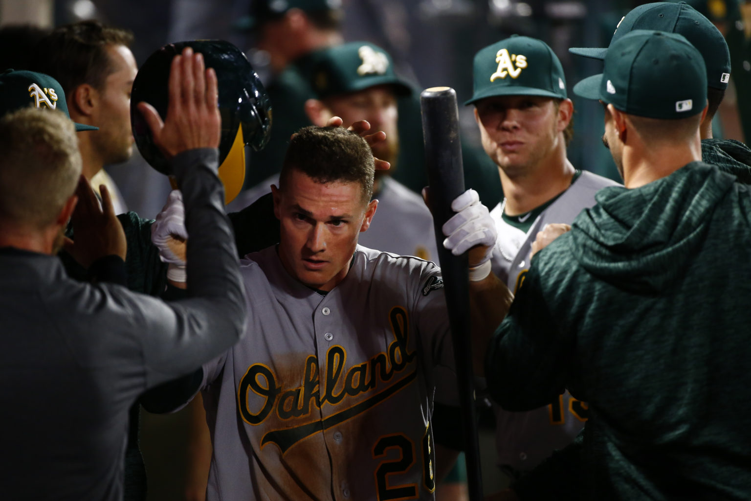 The Oakland Athletics' Matt Chapman (26), seen here in April of 2018, hit an Oakland-record three doubles against the Houston Astros. (Kent Nishimura/Los Angeles Times/TNS)