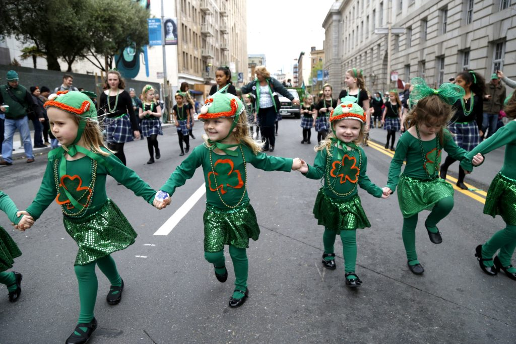 Murphy's Irish Dancers walk down Market Street at the annual Saint Patrick's Day Parade and Festival in San Francisco Saturday, March 12, 2016. (Emma Chiang/ Special to S.F. Examiner)