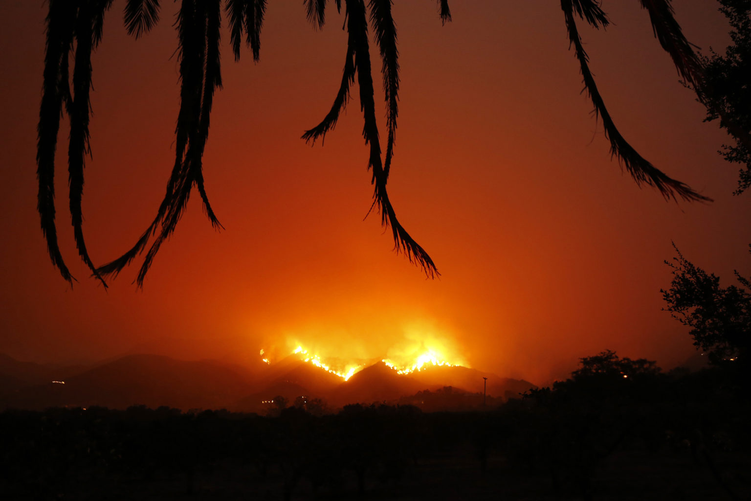 The Thomas fire continues to burn in the upper reaches of Ventura County and in the mountains behind Carpinteria and Montecito in Santa Barbara County with fairly calm winds. (Al Seib/Los Angeles Times/TNS)