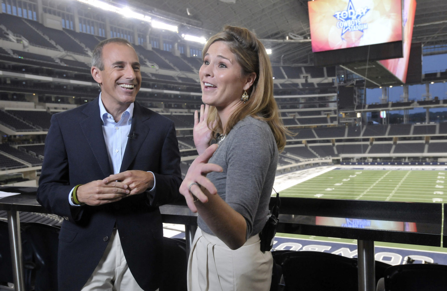 Jenna Bush Hager, right, shares a laugh with Today Show host Matt Lauer as she makes her debut broadcast live from the new Cowboys Stadium, Friday, September 18, 2009, in Arlington, Texas. (Max Faulkner/Fort Worth Star-Telegram/TNS)