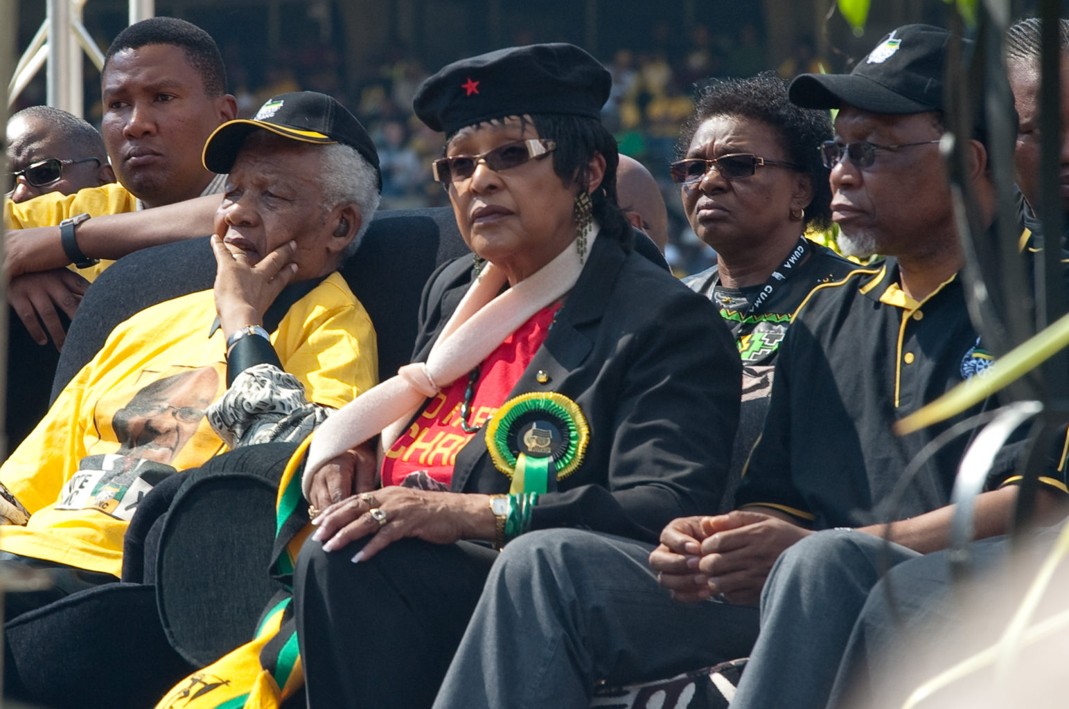 Former South African President Nelson Mandela, his former wife Winnie Madikizela-Mandela and interim South African President Kalema Motlanthe attend an election campaign rally at Ellis Park Stadium in Johannesburg to show support for ANC President and Presidential Candidate Jacob Zuma, in Johannesburg, South Africa, on April 19, 2009. (Erik Forster/Abaca Press/TNS)