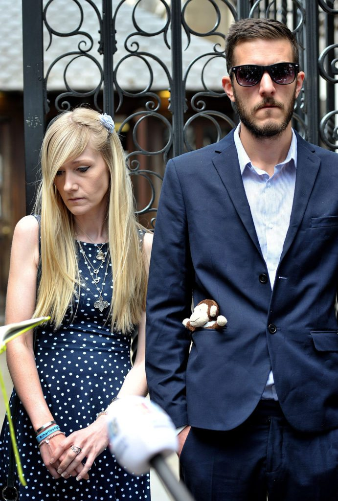 Charlie Gard's parents Connie Yates and Chris Gard outside the High Court in London following the adjournment of a hearing in their latest bid to see him treated with an experimental therapy on Monday, July 10, 2017 in London, England. The terminally ill 11-month-old, who is on life support at Great Ormond Street Hospital, remains at the centre of a legal battle that has gained interest across the globe. (Nick Ansell /PA Photos/Abaca Press/TNS)