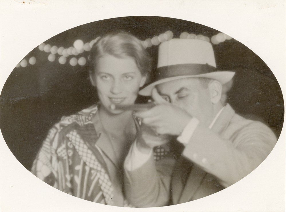 Courtesy PhotoTogetherness: Lee Miller and Man Ray are pictured in this 1930 vintage postcard print; the image is attributed to Man Ray