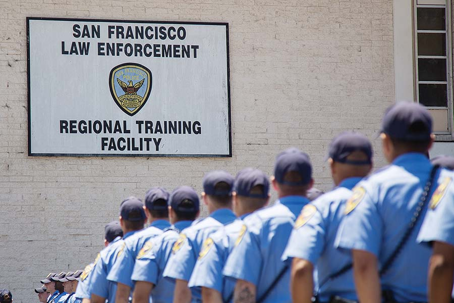 Police Academy class No. 251 is the first academy class to be trained under the San Francisco Police Department's new use-of-force and de-escalation policies implemented in the aftermath of several controversies surrounding the department in the past year. (Rachael Garner/Special to S.F. Examiner)